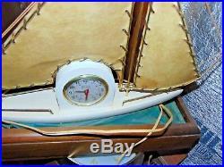 Rare Antique Art Deco Gibraltar Sailboat Motion Electric Ship Clock & Light Lamp