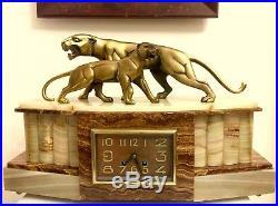 Rare Art Deco Clock Bronze Panther Sculpture By Hugues (signed)