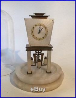 Rare Art Deco Mayer 400 Day Clock Original Dome On Alabaster Base Running