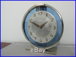 Rare Art Deco Westclox Blue Glass & Chrome Electric Mantel Clock 1938 Working