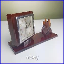 Rare Bayard French art Deco Clock amber dog bakelite scottie alarm