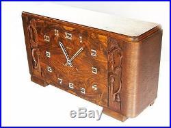 Rare Beautiful Pure Art Deco Kienzle Chiming Mantel Clock With Pendulum