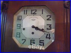 Rare Girod Veritable Westminst Art Deco 2 Chime Wall Clock Full Working Order