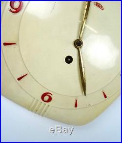 Rare Prim Bakelite Bauhaus Wall Clock 1930 Art Deco Machine Age 30s Working