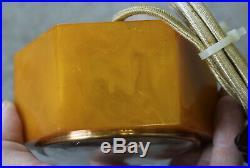 Rare Telechron Daphne Butterscotch Catalin Bakelite Electric Clock 3F53 Art Deco