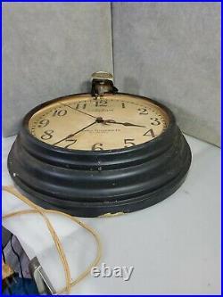 Rare Vintage Telechron Lighted Gooseneck Factory Wall clock 1940's Art Deco