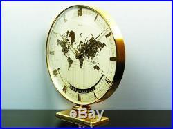 Rare Worldtimer Art Deco Bauhaus Desk Clock Kienzle Heinrich Moeller Germany