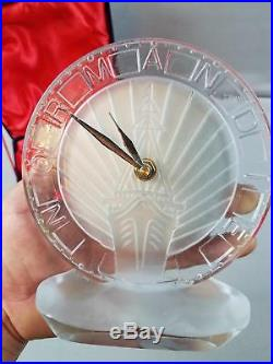 Reproduction S Normandie Ship Crystal Art Deco Clock In Fitted Case Works