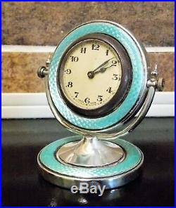 STUNNING ART DECO A L Davenport GREEN GUILLOCHE ENAMEL SOLID SILVER MANTEL CLOCK