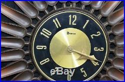 SYROCO Art Deco Wall Clock Starburst Sunburst 23 MADE IN USA Vtg Mid Century