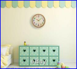 Silent Non-Ticking Kids Wall Clock Large Decorative Colorful Battery Operated