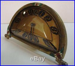 Silvercraft Clock Art Deco Brass Cloisonne Enameled Accents Farber NY Circa 1930