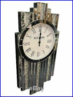 Slim Diamond Shape Art Deco Mirrored Crushed Diamante Jewel Crystal Wall Clock