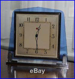 Smiths Art Deco 1930s Blue Glass Electric Clock