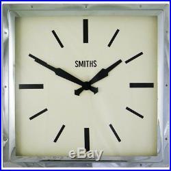 Smiths Art Deco Wall Clock Square Chrome Case 41cm NEW Contemporary Modern