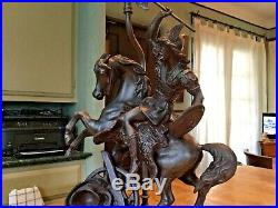 Spelter Statue of Warrior Ansonia Clock Co. Name DAGOBERT circa 1904 on base