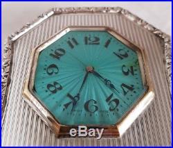 Sterling silver clock. Art Deco Design. Birmingham 1923. By C. Saunders & J. Hollings
