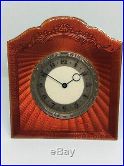 Stunning Art Deco Solid Silver Red Guilloche Enamel Table Desk Clock