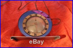 Stunning Art Deco Telechron Blue Glass Mirror Chrome Clock Model #4F65