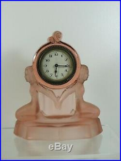 Stunning Art Deco Walther and Sohne Peach Glass Mantle Clock Perfect
