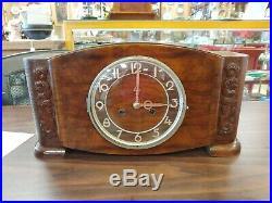 Stunning German Mauthe Art Deco Mantle Clock Schwarz Leipzig