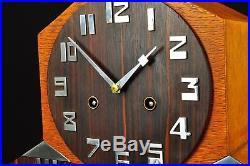 Superb 1930`Art Deco Junghans Amsterdamse School Mantel Clock, Palisander