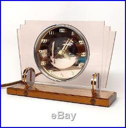 Superb 1930s ART DECO Mirrored WALTHAM Desk Table CLOCK Pink & PEACH & CHROME