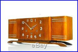 Superb Antique 1930`Art Deco Westminster Chime Mantel Clock Bauhaus