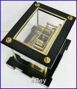 Superb Antique Ebonised & Brass Art Deco 3 Train Musical 5 Glass Bracket Clock