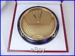 Superb Original Boxed Cartier Art Deco 1984 Lapis Table Clock In Fwo & Papers