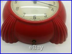 Superb Very Rare Red Bakeliite Art Deco Metamec Electric Kitchen Clock