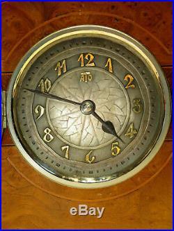 Superbe grande pendule electrique ATO marqueterie clock Art Deco no bulle, Bril