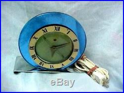 Telechron 1935 Luxor Art Deco Clock round blue glass mirror and chrome 4F65