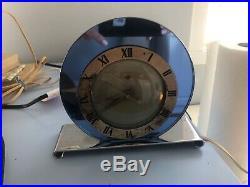 Telechron Blue Mirrored Chrome Art Deco Electric Clock 1930's