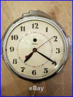 Telechron Vintage Wall Clock Art Deco Chrome