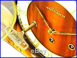 Very Long Art Deco Hermle Westminster Chiming Mantel Clock With Balance Wheel