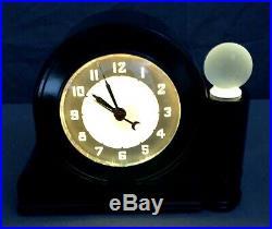 VINTAGE 1930's Ebony ART DECO LACKNER NEON GLO BLACK Bakelite CLOCK WORKING