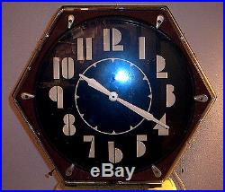 VINTAGE 1930s ELECTRIC NEON CLOCK CO. MACHINE AGE HEXAGONAL ART DECO NEON CLOCK