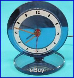 VINTAGE ART DECO BLUE MIRROR GLASS CLOCK Very unusual model