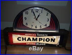 VINTAGE CHAMPION SPARK PLUGS CLOCK-LIGHT (ART DECO) & Working