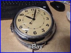 VINTAGE WARREN MODEL 2H09 TELECHRON ART DECO CHROME ELECTRIC WALL CLOCK works