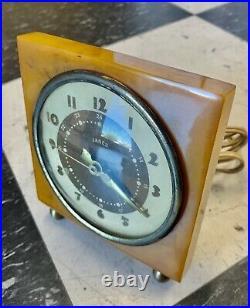 VINTAGE Yellow Butterscotch Catalin Alarm Clock Swirl Art Deco excellent