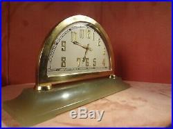 Very Sophisticated Art Deco Swiss Green Onyx Desk Clock Circa 1920