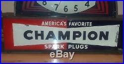 Vintage 1930's Champion Spark Plugs Clock-light (art Deco)