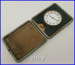 Vintage 1930s Art Deco Desk Travel Goliath 8 Day Pocket Watch Clock Brevet 55236