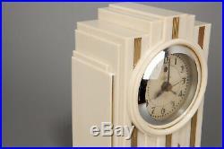 Vintage 1930s Art Deco Telechron Model 700 Electrolarm Clock in Ivory Bakelite