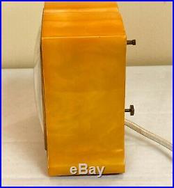 Vintage 1940's Telechron 7h101 The Imp Butterscotch Catalin Art Deco Alarm Clock