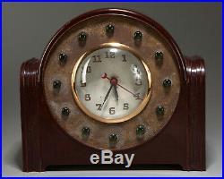 Vintage 1940s Art Deco Bakelite LACKNER Sultan Green Jewel NEON GLO CLOCK