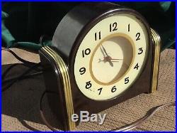 Vintage 1940s Art Deco Bakelite LACKNER Sultan NEON GLO CLOCK