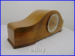 Vintage 1950's Art Deco ROLLS Westminster Chiming MANTEL CLOCK Light Wood